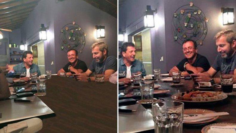 Borraron con Photoshop el sushi que cenaron Frigerio y Massa