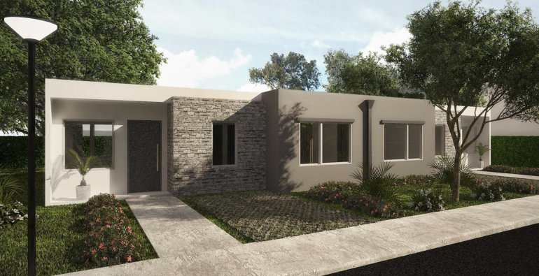 Uno de los modelos del plan habitacional que se construirá en Caleta Olivia.