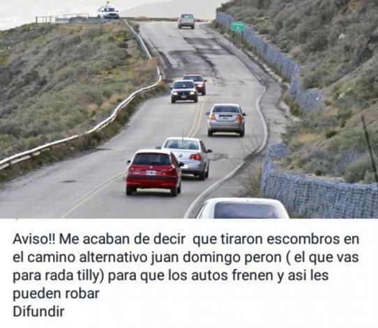 Falsa alarma por robos en el camino Juan Domingo Perón