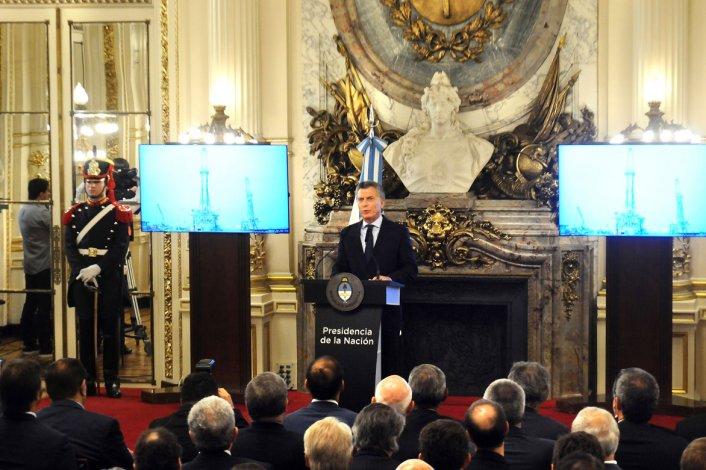 El presidente Mauricio Macri al encabezar ayer el anuncio en Casa Rosada.