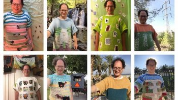 teje sus puloveres con disenos de lugares turisticos que despues visita