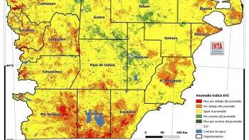 En el gráfico elaborado por el INTA, las áreas de color verde presentan valores del índice por encima de la media de la producción de pastos naturales, las de color amarillo similares y de color naranja o rojo por debajo de la serie histórica.