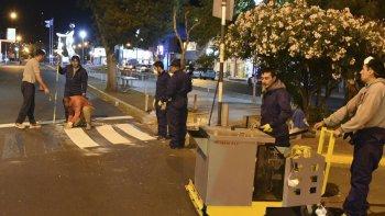 La nueva senda peatonal fue pintada en la esquina de la calle 9 de Julio y avenida San Martín, en la mano que va de sur a norte.