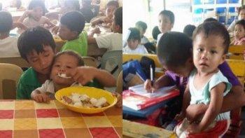 un nene va a clase con su hermano de 2 porque no tiene quien lo cuide