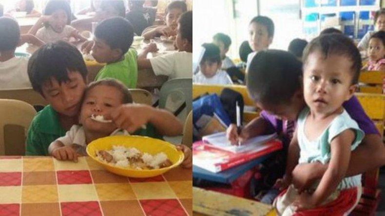 Un nene va a clase con su hermano de 2 porque no tiene quién lo cuide
