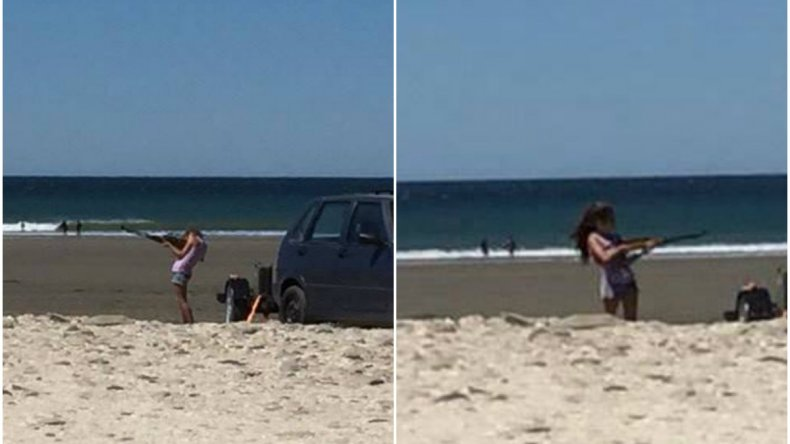 Indignante: dos niños manipulaban un rifle de aire comprimido en la playa