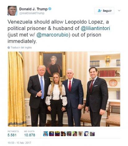 El Presidente de EE. UU. pidió por Twitter la liberación de López.