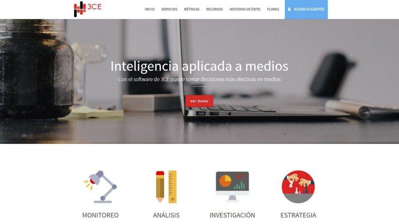 La estética que presenta la homepage del sitio web de 3 Comunicaciones.