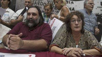 La secretaria general de CTERA, Sonia Alesso, junto a Roberto Baradel, titular de SUTEBA.