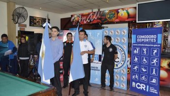 Una imagen de lo que fue el acto inaugural del Campeonato Argentino de Pool.