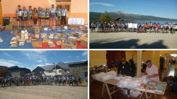 ciclistas llevaron libros y guardapolvos a los chicos de las comunas