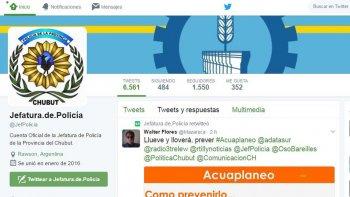 La cuenta de Twitter de la Policía de Chubut.