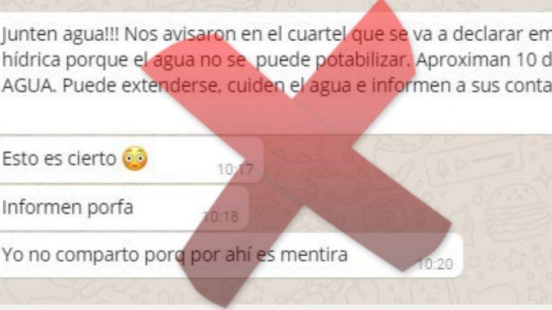 Bomberos desmienten cadena de WhatsApp  que alerta sobre el agua
