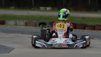 Lorenzo Astiz durante la tercera fecha de la Copa Rotax Max que se corrió el fin de semana en Ciudad Evita.