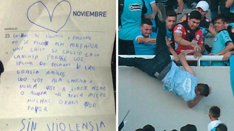 La carta de una nena tras la muerte del hincha