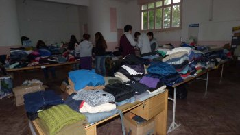 La sede del gremio funcionó como centro de recolección de las donaciones.