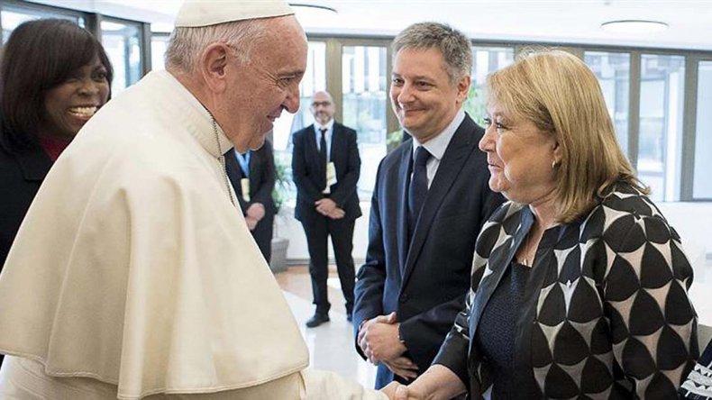 Susana Malcorra fue recibida por Francisco en el Vaticano.
