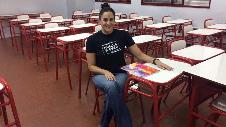Pilar Geijo en el Instituto River Plate. Como es uno de los cuatro mejores promedios en periodismo deportivo hará una pasantía en prensa del club.