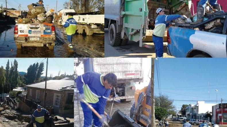 Los trabajos que realiza Urbana Higiene Ambiental permitieron retirar100 mil metros cúbicos de barro de la vía pública.
