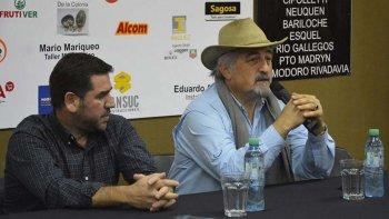 El presidente de Chubut Deportes, Walter Ñonquepán, y el titular de Comodoro Deportes, Othar Macharashvili.