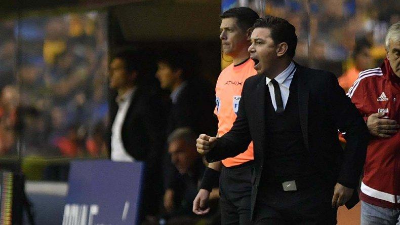 Marcelo Gallardo festeja uno de los goles que River le marcó ayer a Boca en la mismísima Bombonera.
