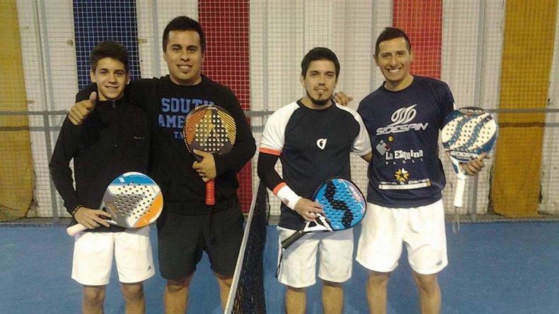 Los finalistas de la primera fecha del Circuito Oficial de Jugadores de Padel de Comodoro Rivadavia en abril.