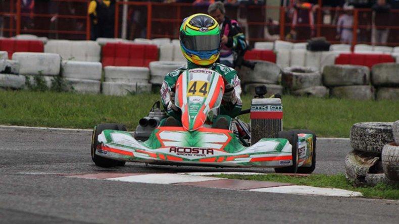 El karting de Martín Visser durante la competencia que se corrió el último fin de semana en el kartódromo de Zárate.