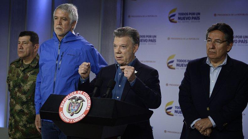 Juan Manuel Santos durante la conferencia de prensa que ofreció ayer.