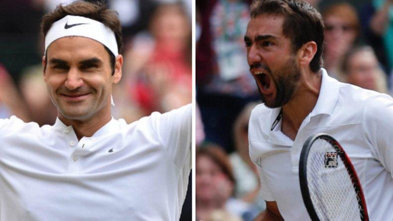 Roger Federer y Marin Cilic estarán hoy frente a frente en la final de Wimbledon.