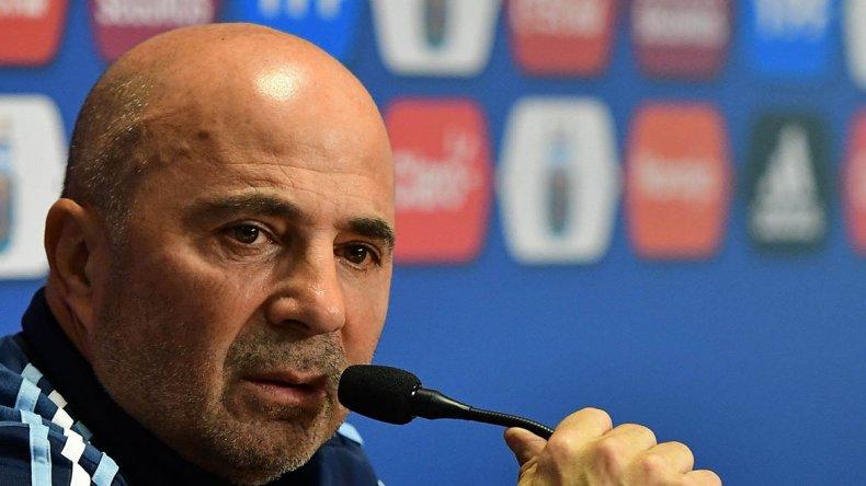Jorge Sampaoli durante la conferencia de prensa que brindó en el predio de la Asociación del Fútbol Argentino.