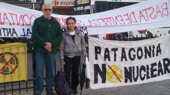 Mary López participó el miércoles de la manifestación de protesta que se realizó frente al Congreso de la Nación contra la instalación de una central nuclear.