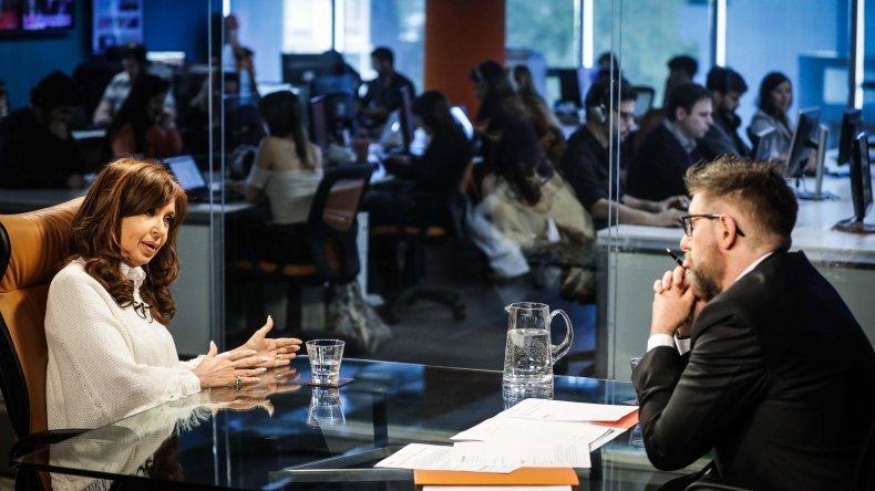 Cristina Fernández en la entrevista que concedió ayer por la tarde.
