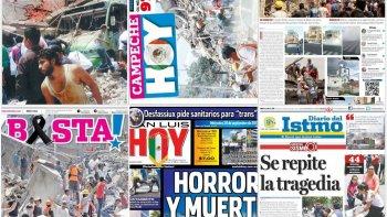 los diarios de mexico muestran el dolor por el terremoto