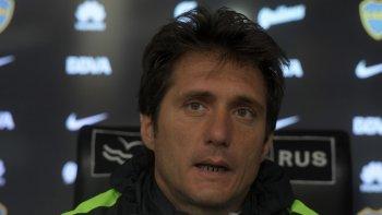 Guillermo Barros Schelotto durante la conferencia de prensa que brindó ayer luego del entrenamiento matutino que realizó Boca.