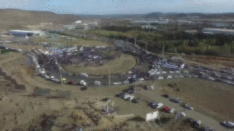 El paro petrolero en Comodoro desde un dron